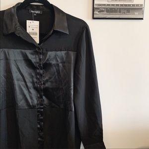 Black Silky Satin Blouse
